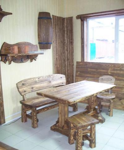 брус профилированный беседка скамейка стол состаренное дерево - main